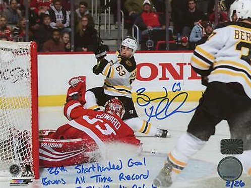 Brad Marchand Boston Bruins Signed Inscribed 26th SHG Record LE #'d/26 8x10
