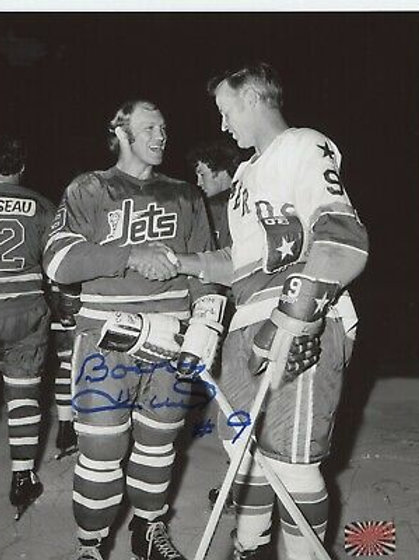 Bobby Hull Winnipeg Jets signed 8x10 Winnipeg Jersey w/ Gordie Howe