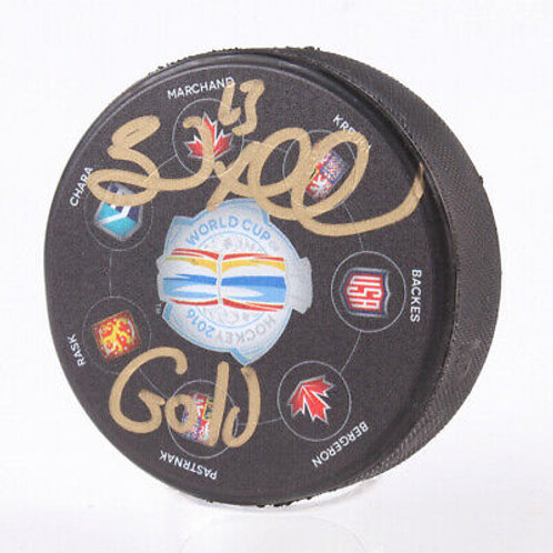 Brad Marchand Boston Bruins Signed Autographed World Cup GOLD Inscribed Puck