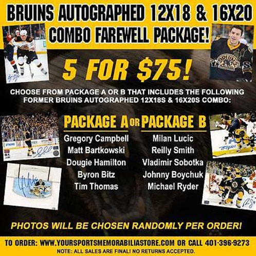 Boston Bruins Autographed 12x18 16x20 Combo Farewell Package 5 for $75 PACKAGE B