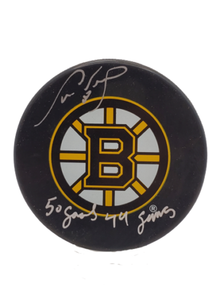 """Cam Neely Boston Bruins signed autographed puck inscribed """"50 goals, 44 games"""""""