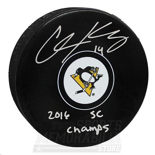 Chris Kunitz Pittsburgh Penguins Sign Autograph 2016 SC Champs Inscribed Puck S