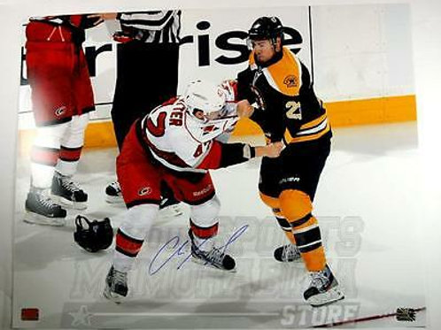 Chris Kelly Boston Bruins Signed Fight vs Carolina Hurricanes Brett Sutter 16x20
