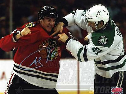 Andrew Shaw Chicago Blackhawks Signed Autographed Fight vs Roussel Stars 8x10