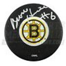 Bronco Horvath Boston Bruins Signed Small B-Logo Puck - Silver