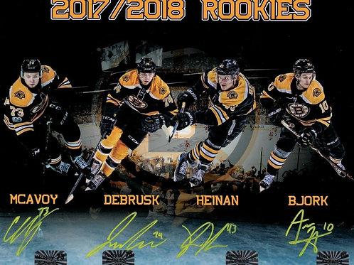 Charlie McAvoy Jake Debrusk Heinen Bjork Boston Bruins Signed ROOKIES 8x10