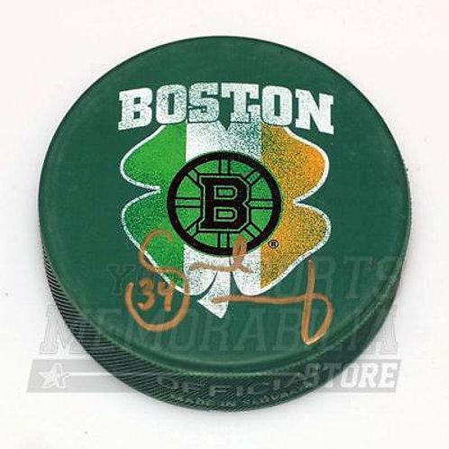 Carl Soderberg Boston Bruins Signed Autographe?d St. Patrick's Irish Flag Puck