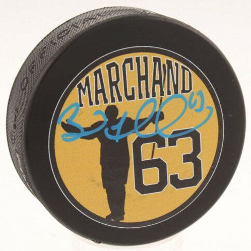 Brad Marchand Boston Bruins Signed Custom Marchand Celebration Puck