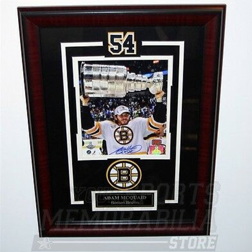 Adam McQuaid Boston Bruins signed autographed framed raising Stanley Cup 8x10