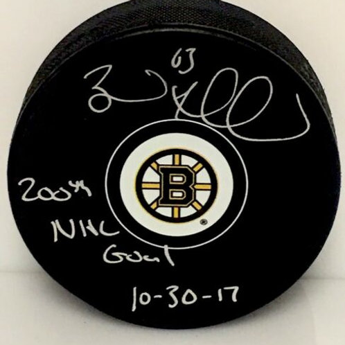 Brad Marchand Boston Bruins Signed Inscribed 200th NHL Goal Puck