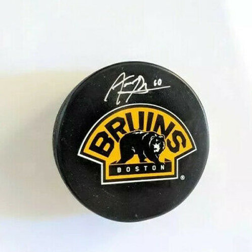 Anders Bjork Boston Bruins Signed Autographed Bear 3rd Logo Hockey Puck