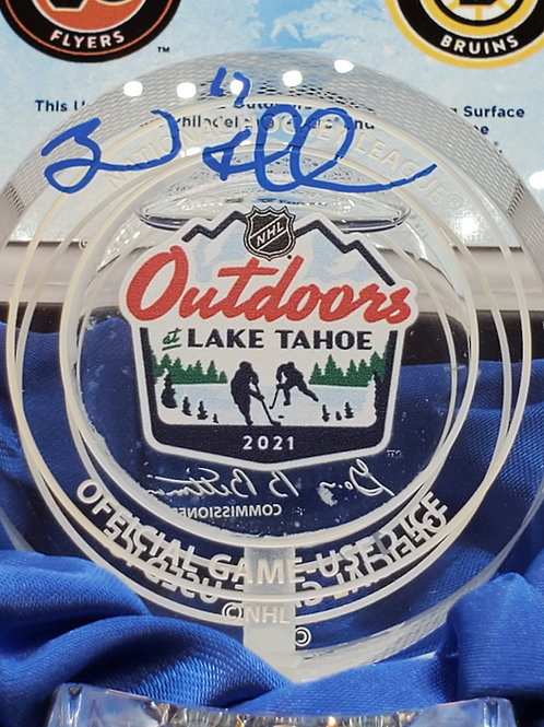 Brad Marchand Boston Bruins signed Outdoor Lake Tahoe CRYSTAL Game USED ICE