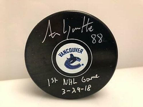 Adam Gaudette Vancouver Canucks Signed Inscribed 1st NHL Game Hockey Puck