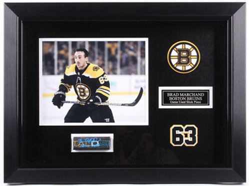 Brad Marchand Boston Bruins Signed Game Used Stick Piece Frame Display A
