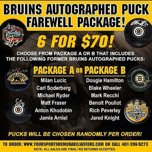 Boston Bruins Signed Autographed Puck Farewell Package 6 for $70 PACKAGE A