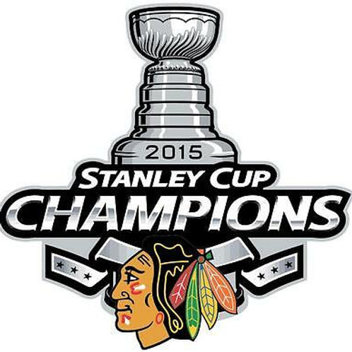 """Chicago Blackhawks 2015 Stanley Cup Champions X-Small 1.75"""" Decal"""