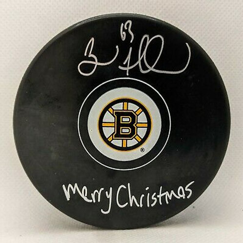 """Brad Marchand Boston Bruins Signed Autographed """"Merry Christmas"""" Inscribed Puck"""