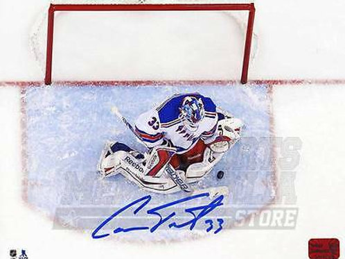 Cam Talbot New York Rangers Signed Autographed Overhead Save 8x10