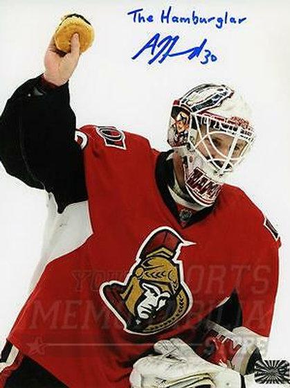 Andrew Hammond Ottawa Senators Signed Autographed The Hamburglar Inscribe 8x10 B