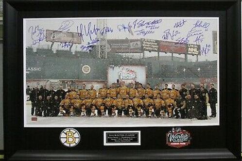 Boston Bruins Signed 2010 Winter Classic Fenway 18x30 Framed Bergeron Chara ++