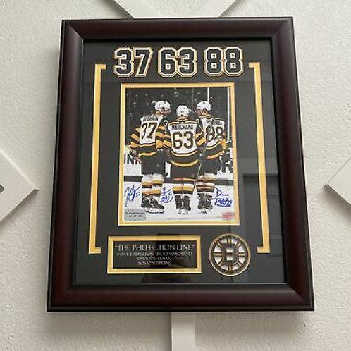 Brad Marchand Patrice Bergeron David Pastrnak Boston Bruins signed 8x10 WC
