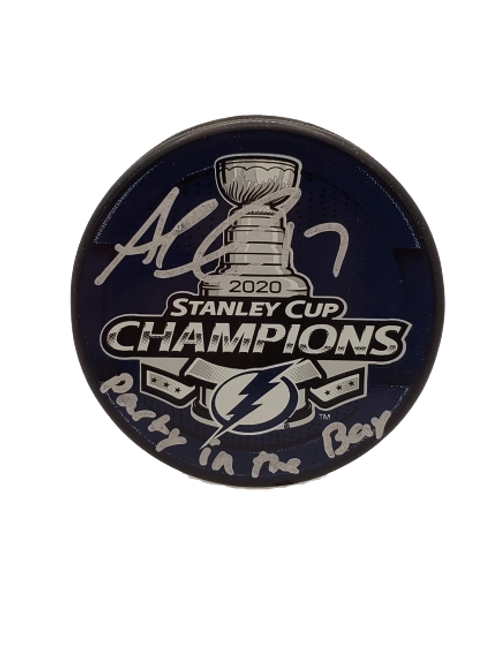 """Alex Killorn Tampa Bay Lightning signed 2020 SC Champs puck """"Party in the Bay"""""""