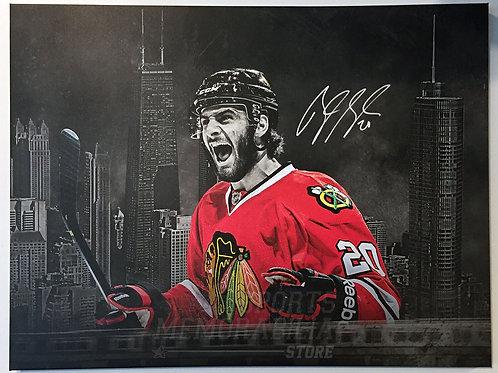 Brandon Saad Chicago Blackhawks Signed Autographed Chicago City Spotlight Canvas