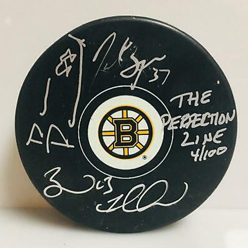 Bergeron Marchand Pastrnak Boston Bruins Signed LE #'d The Perfection Line Puck