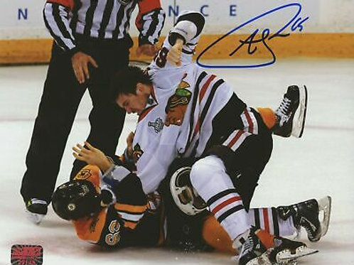 Andrew Shaw Chicago Blackhawks Signed Autographed Fight vs Marchand Bruins 8x10