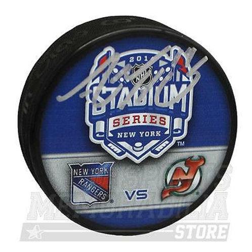 Adam Henrique New Jersey Devils Signed Autograph 2014 Stadium Series Duel Puck A