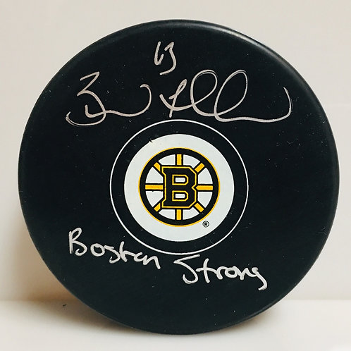 """Brad Marchand Boston Bruins Signed Autographed """"Boston Strong"""" Inscribed Puck"""