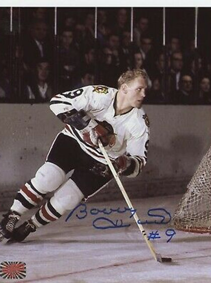 Bobby Hull Chicago Blackhawks signed 8x10 Puck on Red Line