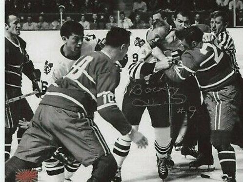 Bobby Hull Chicago Blackhawks signed 8x10 Montreal Skirmish