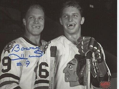 Bobby Hull Chicago Blackhawks signed 8x10 RARE photo with Dennis Hull