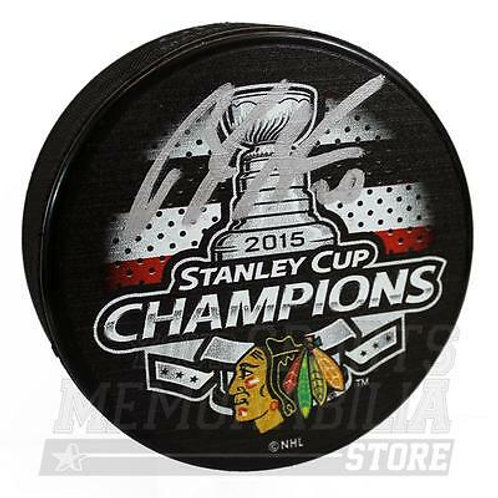 Brandon Saad Chicago Blackhawks Signed Autographed 2015 Stanley Cup Champs Puck