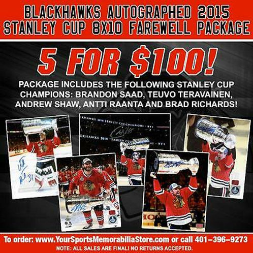 Chicago Blackhawks Autographed 2015 Stanley Cup 8x10s Farewell Package