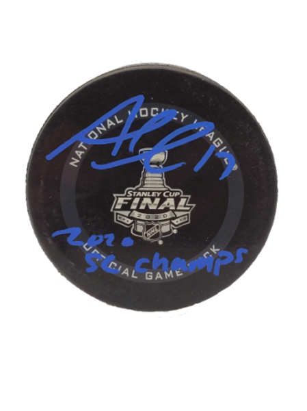 """Alex Killorn Tampa Bay Lightning signed Official Game Puck """"2020 SC Champs"""""""