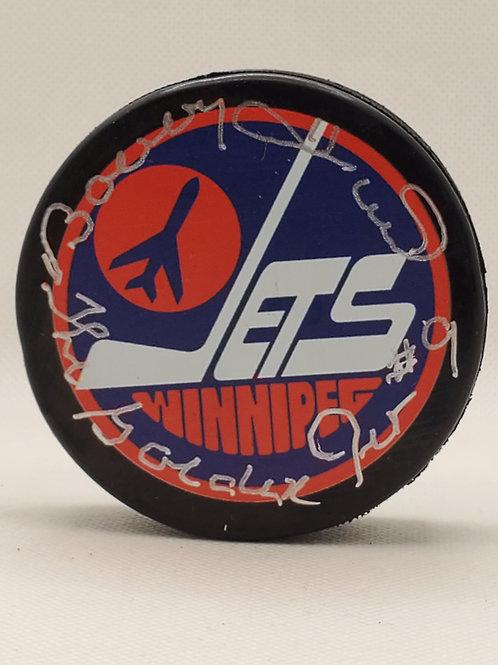 "Bobby Hull Winnipeg Jets signed puck inscribed ""The Golden Jet"""