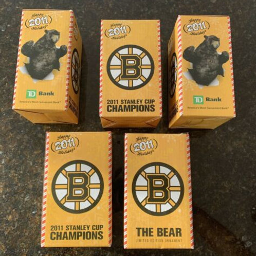 Boston Bruins 2011 Stanley Cup Champions Limited Edition Bear Christmas Ornament
