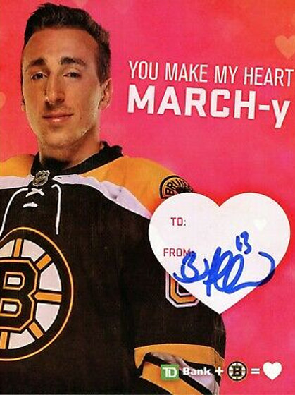 Brad Marchand Boston Bruins Signed Autographed TD Bank Bruins Valentine Card