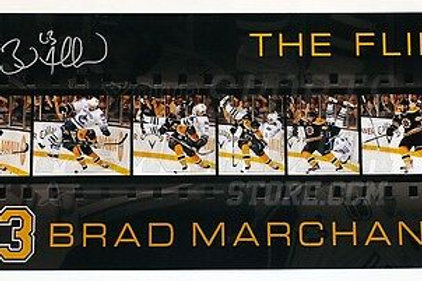 "Brad Marchand Boston Bruins Signed Sedin ""The Flip"" Filmstrip 12x24 Panoramic"