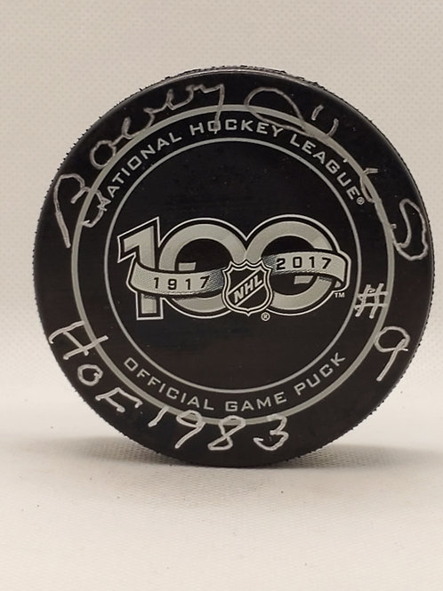 Bobby Hull Chicago Blackhawks signed 100YR NHL puck inscribed HOF 1983