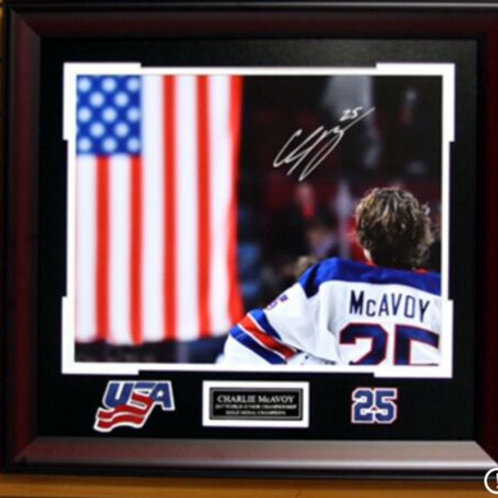 Charlie McAvoy Boston Bruins Signed Framed spotlight USA Flag WJC 16x20