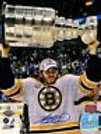Adam McQuaid Boston Bruins signed Stanley Cup raising Cup over head 8x10