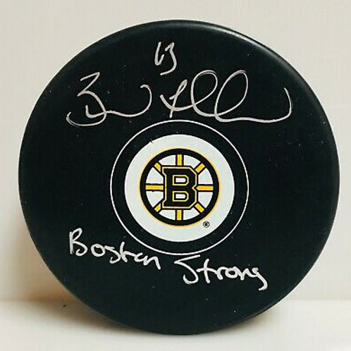 "Brad Marchand Boston Bruins Signed Autographed ""Boston Strong"" Inscribed Puck"