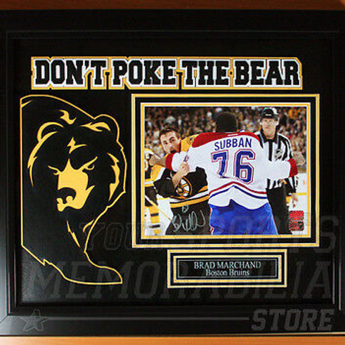 """Brad Marchand Boston Bruins Signed Autographed """"Don't Poke the Bear"""" Framed 8x10"""