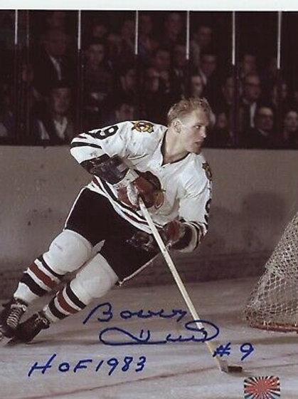 Bobby Hull Chicago Blackhawks signed 8x10 HOF 1983 Inscription