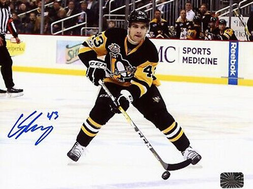 Conor Sheary Pittsburgh Penguins Signed Autographed Home Skate Action 8x10