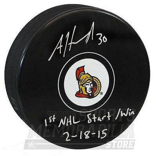 Andrew Hammond Ottawa Senators Signed Autographed 1st NHL Start/Win Puck