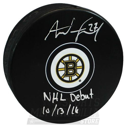 Austin Czarnik Boston Bruins Signed Autographed NHL Debut Inscribed Puck